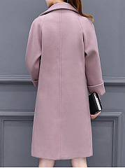 Lapel Flap Pocket Plain Woolen Coat