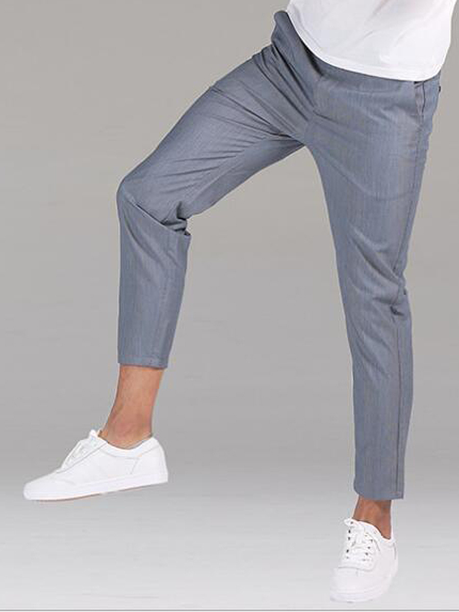 Plain Slim-Leg Pocket Men's Casual Pants
