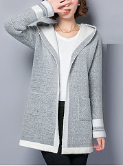Hooded-Patch-Pocket-Plain-Long-Sleeve-Cardigans