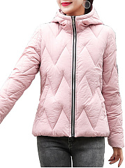 Hooded  Zips  Quilted  Decorative Patch  Long Sleeve Coats