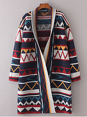 V Neck  Color Block Geometric Cardigans
