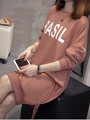 Round Neck Casual Letters Shift Dress