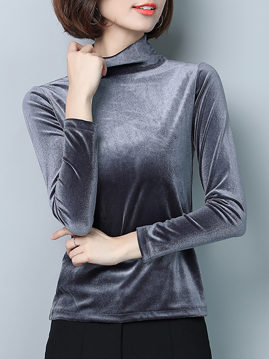 High Neck Plain Velvet Long Sleeve T-Shirt
