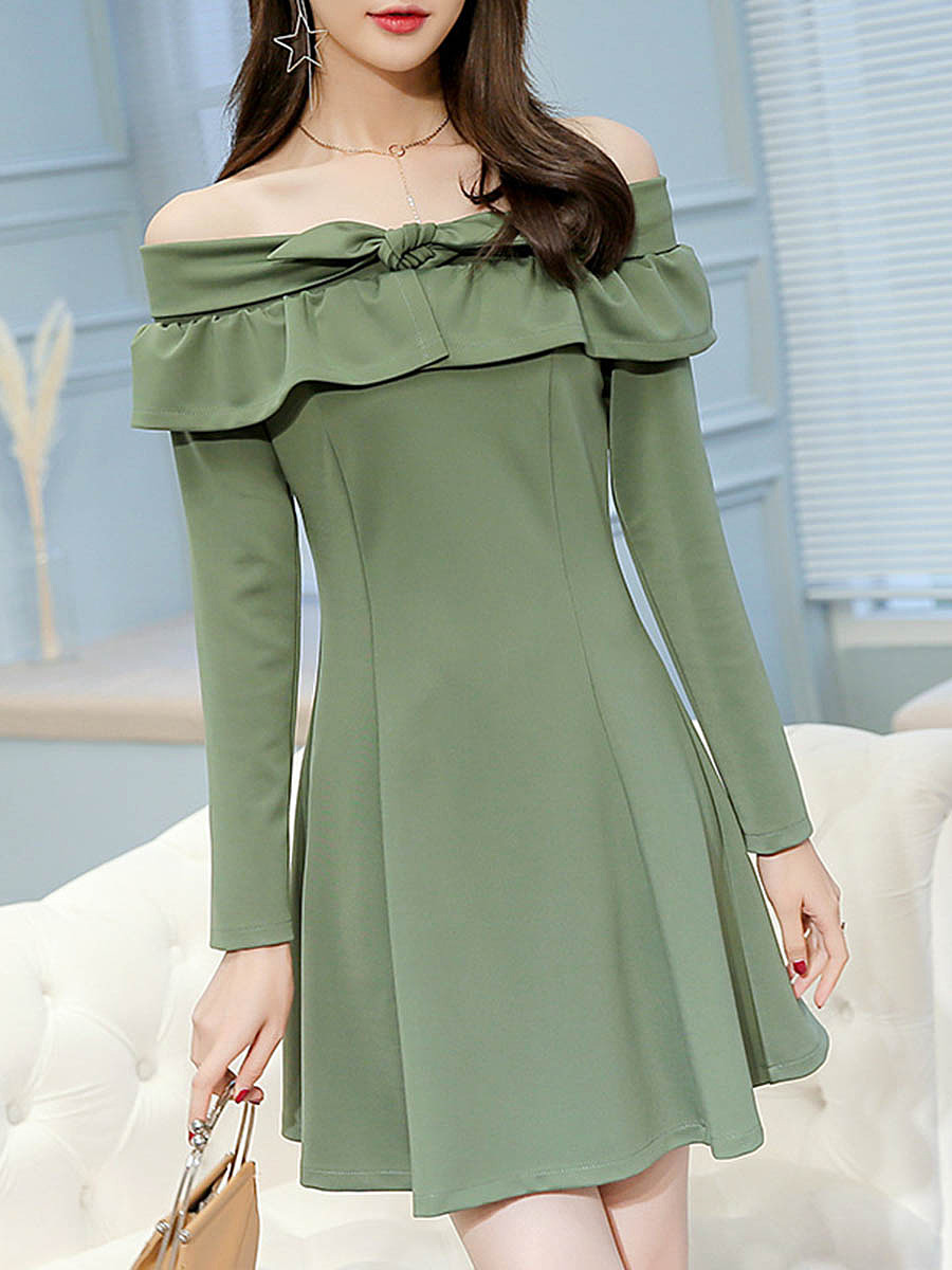 Off Shoulder Flounce Bowknot Plain Skater Dress