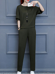 Round Neck  Plain Sweatshirt Suit
