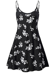 Spaghetti Strap  Floral Printed Casual Skater Dress