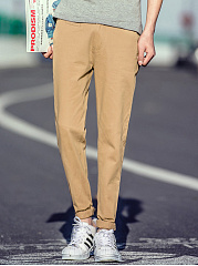 Plain Slim-Leg Men's Casual Pants