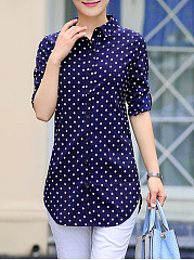 Polka Dot Curved Hem Turn Down Collar Blouse