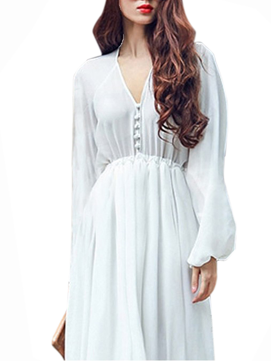 V-Neck  Elastic Waist  Plain Maxi Dress