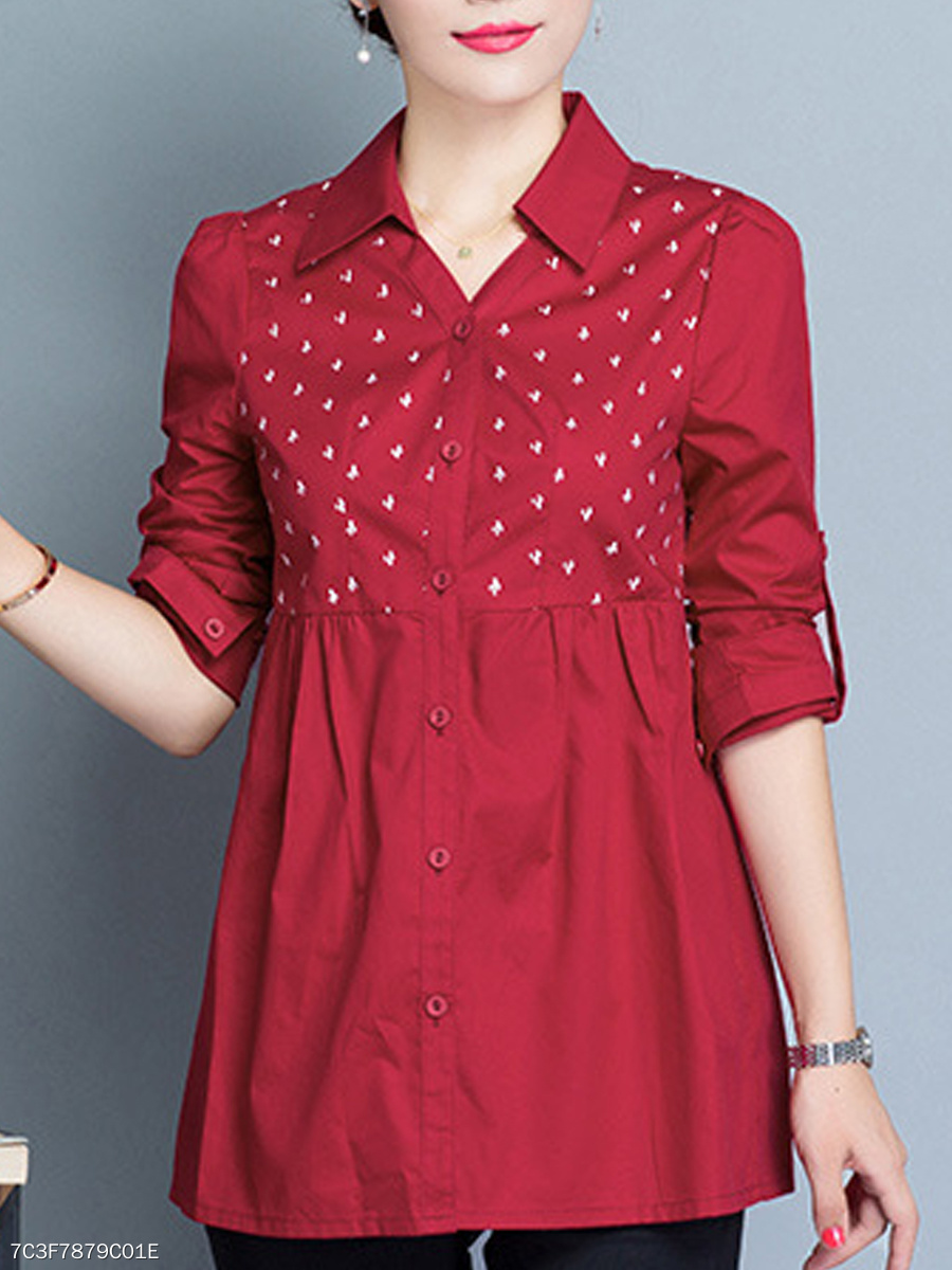 Autumn Spring Winter  Cotton  Women  Turn Down Collar  Single Breasted  Floral  Long Sleeve Blouses
