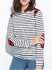 Round Neck  Loose Fitting Patchwork  Checkered Stripes Long Sleeve T-Shirts