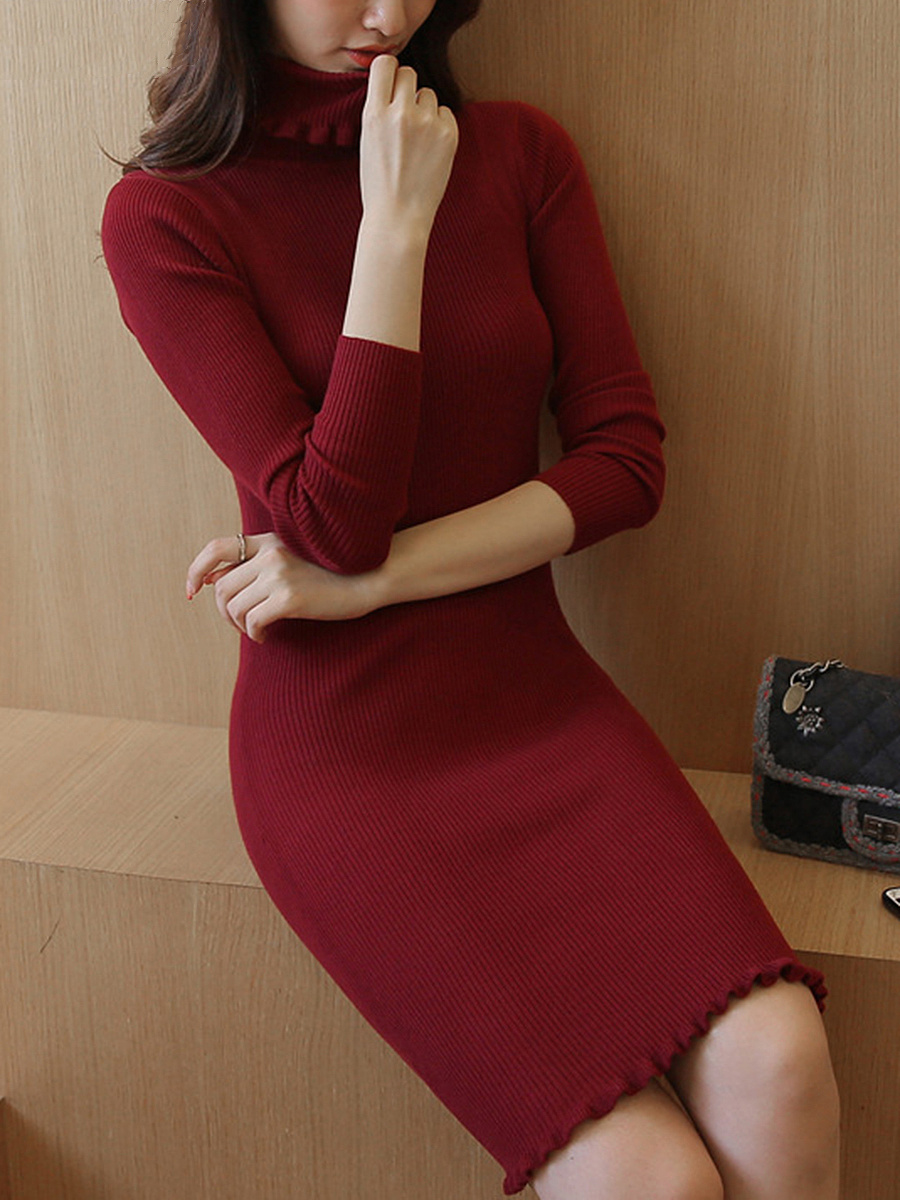 Turtleneck Plain Ruffle Trim Knitted Bodycon Dress. Turtleneck ...