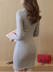 Turtleneck Plain Ruffle Trim Knitted Bodycon Dress