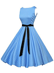 Retro Boat Neck Polka Dot Bowknot Midi Skater Dress