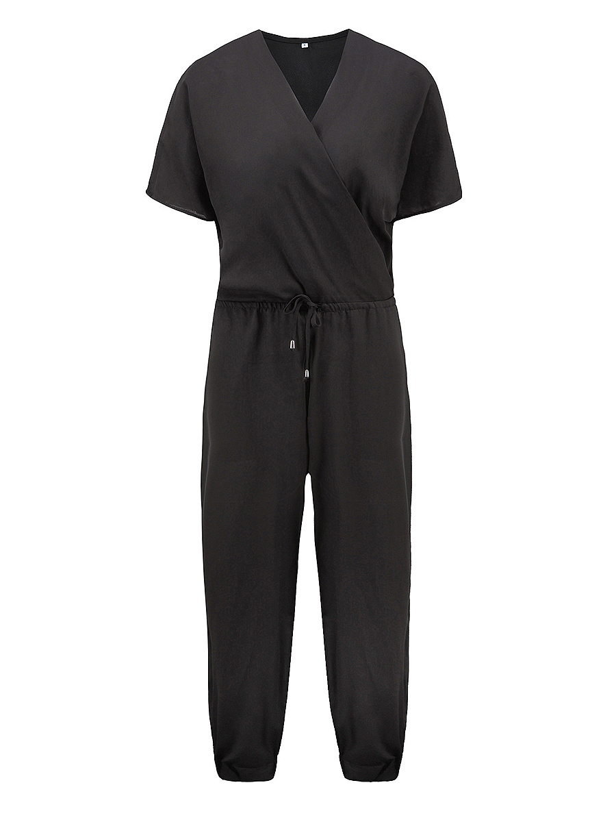 Surplice Drawstring Plain Pocket Chiffon Slim-Leg Jumpsuit