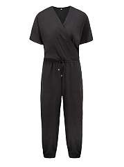 Surplice-Drawstring-Plain-Pocket-Chiffon-Slim-Leg-Jumpsuit