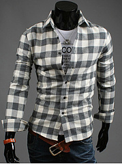 Basic Long Sleeve Check Men Shirts