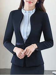 Collarless Bowknot Single Button Blazer