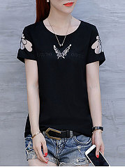 Summer  Polyester  Women  Round Neck  See-Through  Animal Printed Short Sleeve T-Shirts