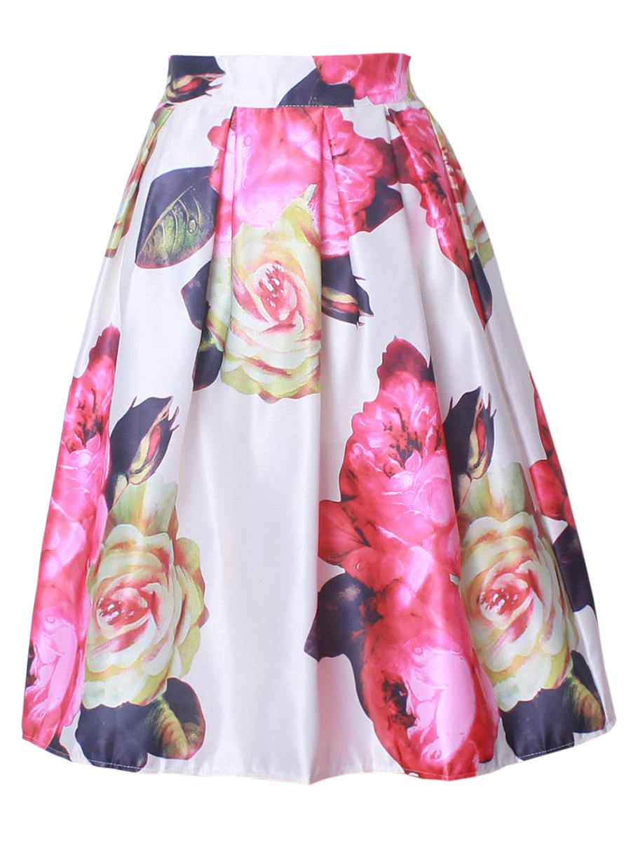 Gorgeous Floral Printed Flared Midi Skirt