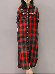 Sailor Collar  Plaid  Long Sleeve Trench Coats