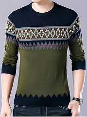 Round Neck Zigzag Striped Men Sweater