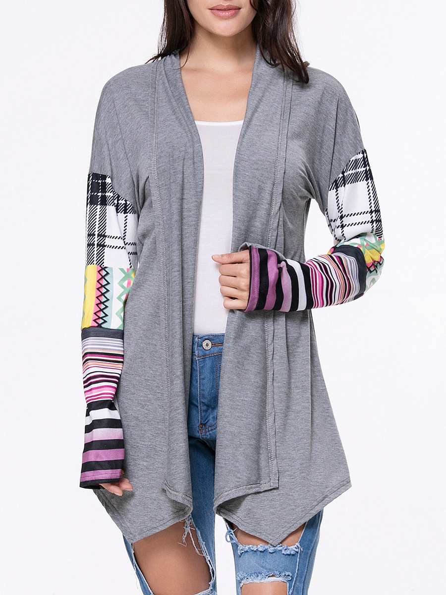 Lapel  Asymmetric Hem Plaid Striped Cardigans
