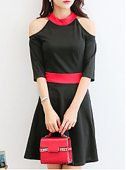 Round Neck  Patchwork  Color Block Plain Skater Dress