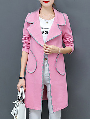 Notch Lapel  Patch Pocket  Plain  Long Sleeve Coats