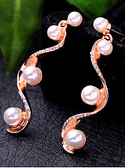 Curve-Shaped Faux Beads Drop Earrings