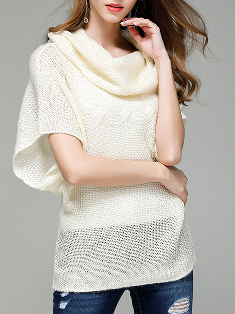 Cowl Neck Plain Batwing Short Sleeve Sweater