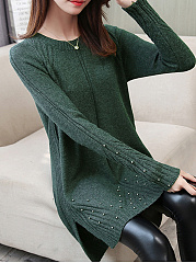 Round Neck  Plain  Acrylic Sweaters