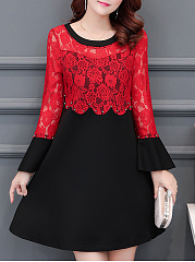 Round Neck  Beading  Lace Skater Dress