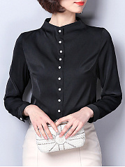 Autumn Spring  Women  Single Breasted  Plain  Long Sleeve Blouses