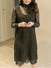 Crew Neck  See-Through  Lace Plain Shift Dress