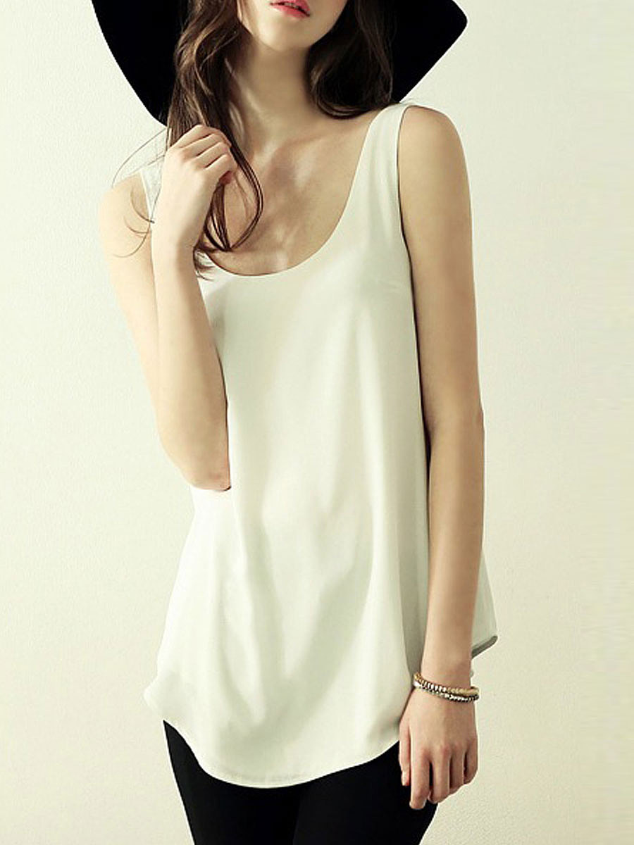 Basic Scoop Neck  Plain Sleeveless T-Shirt