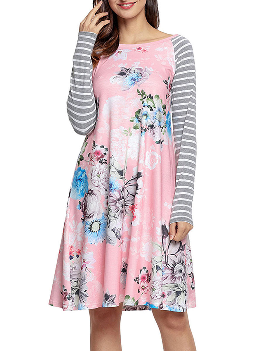 Round Neck Floral Striped Shift Dress