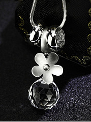Crystal Ball Pendant Long Necklace