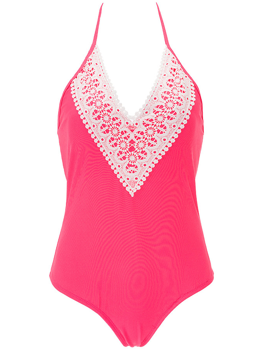 Halter Decorative Lace One Piece