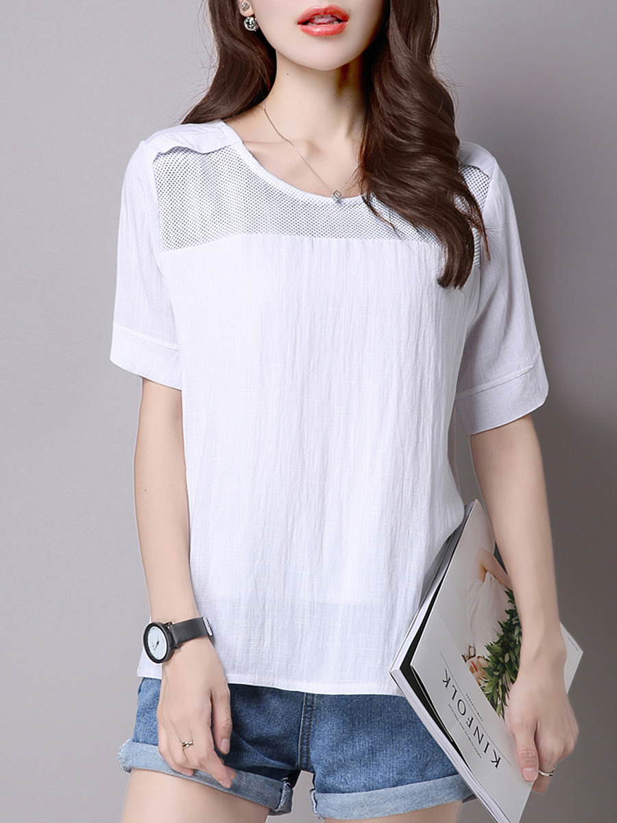 Solid Round Neck Short Sleeve T-Shirt