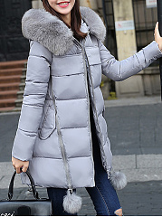 Hooded Flap Pocket Zips Quilted Plain Padded Coat