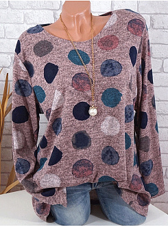 Polyester  Round Neck  Polka Dot Printed  Long Sleeve Long Sleeve T-Shirts