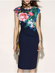 Round Neck  Ruched  Floral Printed Bodycon Dress
