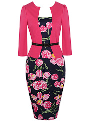 Office Floral Printed Belt Bodycon Dress