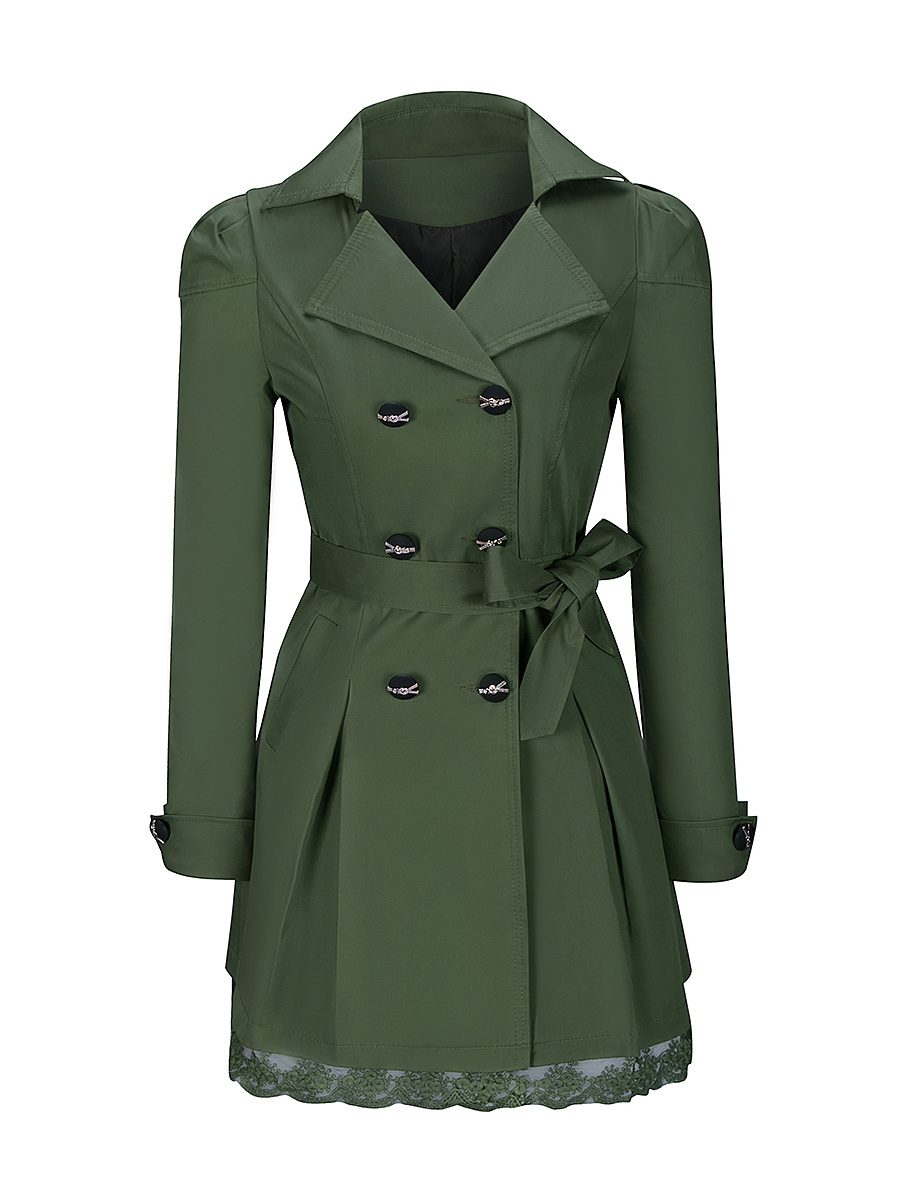 Lapel  Bowknot Double Breasted  Plain Trench Coats