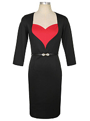 Sweet Heart Color Block Belt Slit Bodycon Dress
