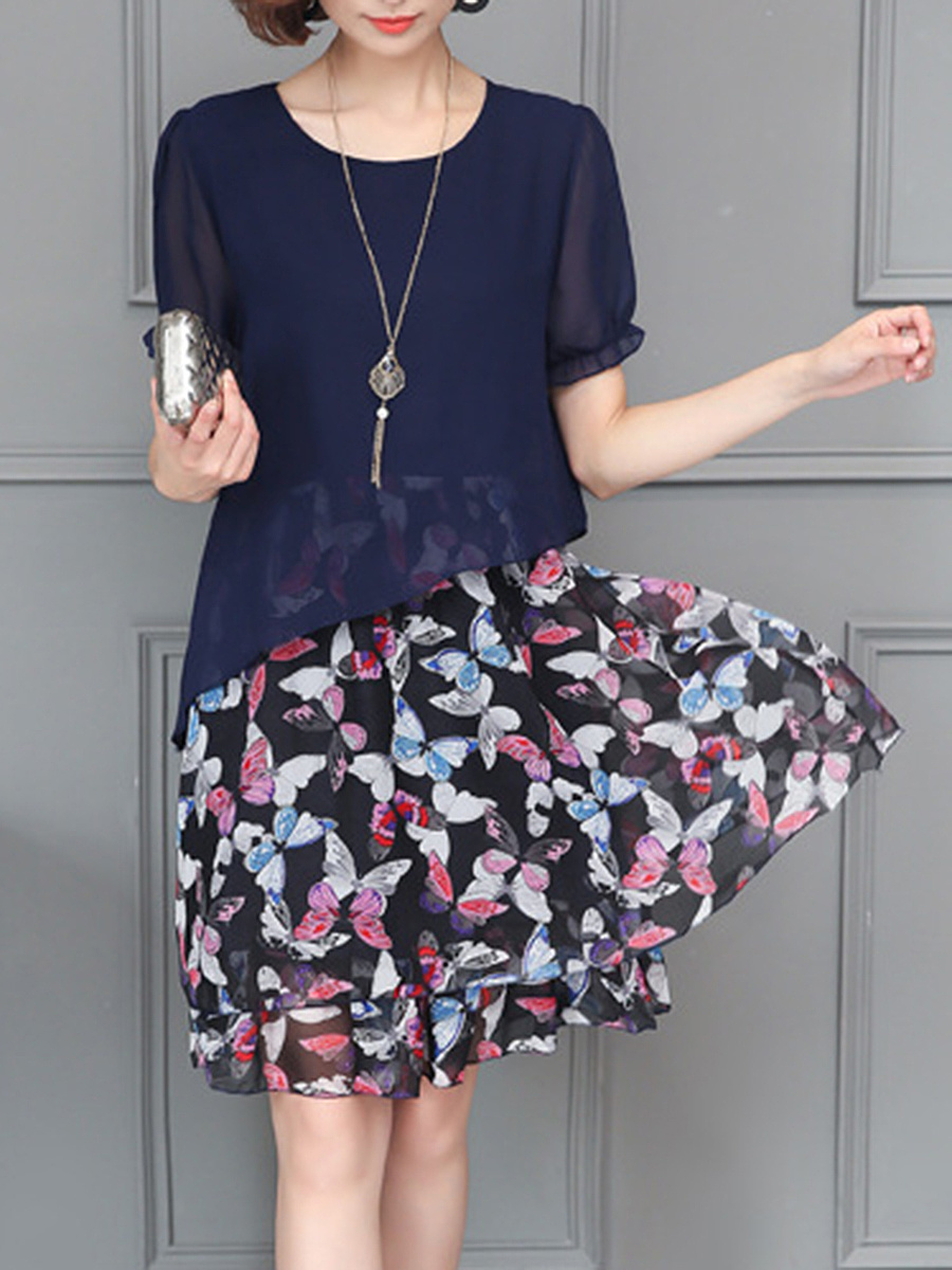 Round Neck Butterfly Printed Chiffon Shift Dress
