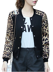 Single Breasted  Floral Leopard  Long Sleeve Jackets