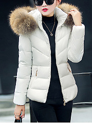 Hooded Pocket Plain Quilted Padded Coat