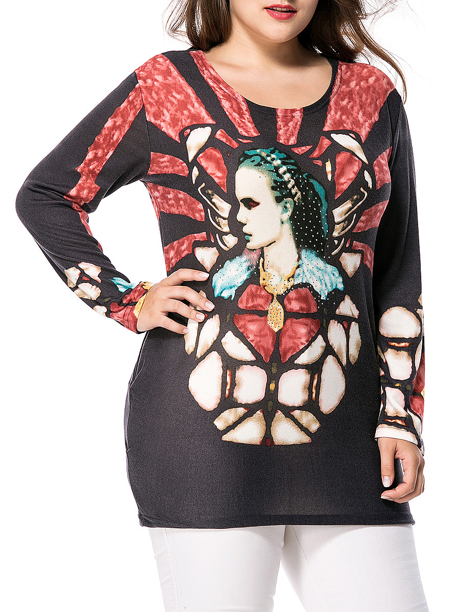 Long Sleeve Round Neck Rhinestone Printed Plus Size T-Shirt